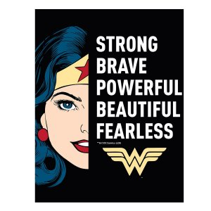 Placa Metal DC Comics Wonder Woman Strong Brave 20x26cm