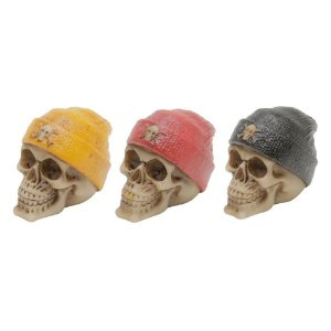 Jogo com 3 Mini Caveiras Decorativas Red Yellow Black Cap