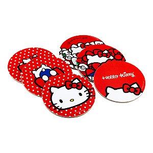 Jogo com 6 Porta Copos em Cortiça Hello Kitty Dots