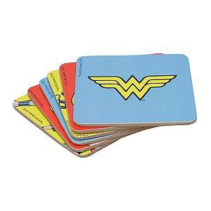 Jogo com 6 Porta Copos Coloridos Cortiça DC Comics Wonder Woman