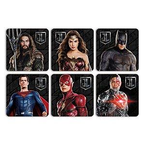 Jogo com 6 Porta Copos Cortiça Geek DC Comics Movie Liga da Justiça