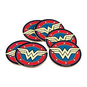 Jogo com 6 Porta Copos Cortiça Geek DC Comics Wonder Woman