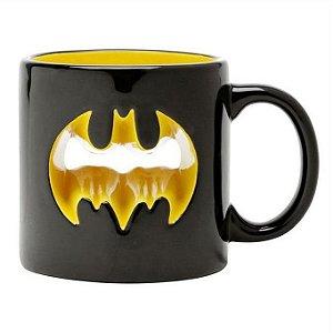 Caneca Decorativa Porcelana DC Comics Logo Vazado Batman 320ml