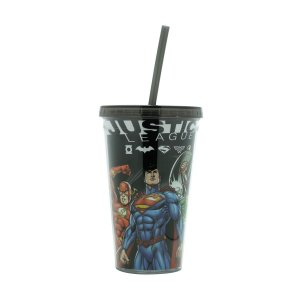 Copo Canudo Plástico Dc Comics Liga da Justiça Preto 500ml