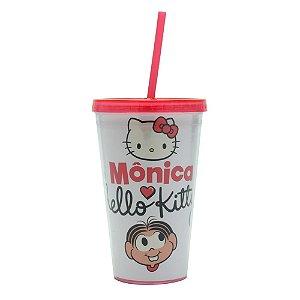 Copo Canudo Plástico Mônica Hello Kitty 500ml