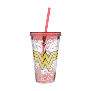 Copo Canudo Plástico DC Comics Wonder Woman Transparente 500ml