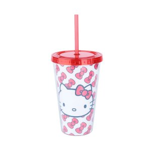Copo Canudo Plástico Hello Kitty Laces 500ml