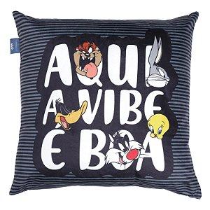 Capa Aveludada para Almofada Looney Tunes Personagens 45x45cm