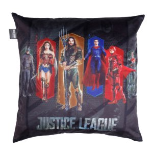 Capa Aveludada Almofada Liga da Justiça Movie Preta 45x45cm