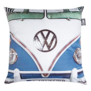 Capa Aveludada Almofada Volkswagen Clássico Kombi Azul 45x45cm