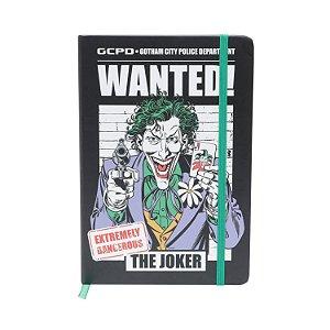Caderneta Anotação Capa Dura DC Comics Joker Wanted Preta A5