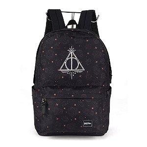 Mochila Masculina Logo Relíquia Harry Potter Preta