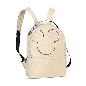 Bolsa Mochila Feminina Nylon Disney Mickey Mouse Off White