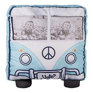 Almofada Shape com Porta Fotos Carro Retrô Azul 37x37cm