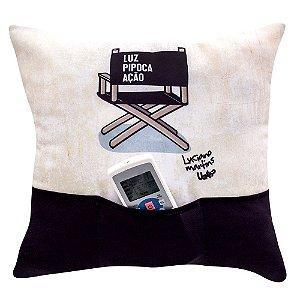 Almofada com Bolso Porta Objetos Luz, Pipoca, Ação 40x40cm