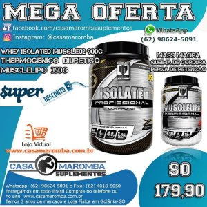 Kit Diurético Termo e Massa Magra: Musclelipo 350g + Whey Isolado Isolated 900g