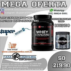 Kit de Disposição e Massa Magra: Pre  Bone Crusher 150g + Whey Standard Prozis 900g