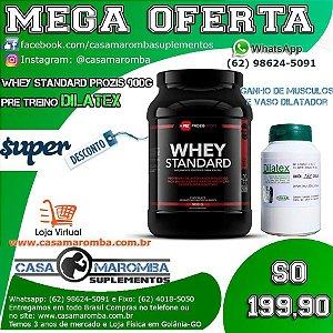 Kit de Massa Magra e Disposição: VasoDilatador Dilatex + Whey Standard Prozis 900g