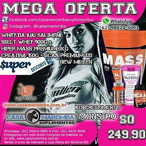 Kit Monstro Feminino: Hipercalorico Mass Premium 3 Kg + Sbelt Whey Feminino da Juju de 900g +  BCAA Premium 120 Tabs + Cre 150g New Millem