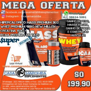 Kit Monstro: Hipercalórico Mass Premium 3Kg + Whey Premium 900g + Cre 150g + BCAA 120 Tabs New Millen