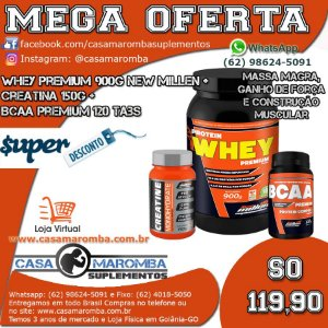 Kit Crescimento: Whey Premium 900g + Cre 150g + BCAA 120 Tabs New Millen