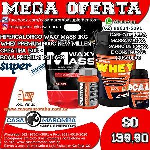 Kit Monstro: Hipercalórico Waxy Mass 3Kg Bodybuilders + Whey Premium 900g + Cre 150g + BCAA 120 Tabs New Millen
