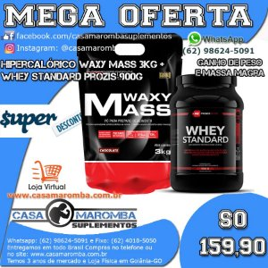 Kit Crescimento: Hipercalórico Waxy Mass 3Kg Bodybuilders + Whey Standard 900g Prozis