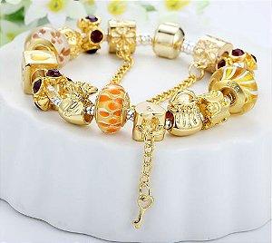 Pulseira Prata Berloques Dourados