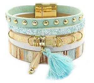 Bracelete Fino de Couro Tachinhas Argolas Detalhes Coloridos