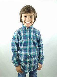Camisa Infantil Importada Manga Longa Xadrez Vermelho Azul Verde Branco
