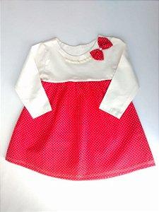Vestido Bebê Vermelho Pérola Laço bolinhas Brancas