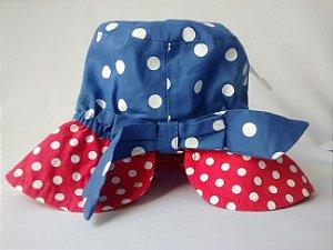 Chapéu Bebê Benetton Baby Azul Vermelho Bolinhas Brancas