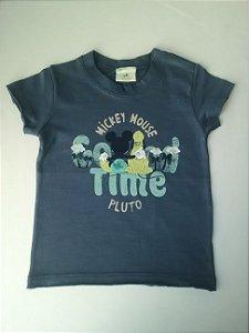 Camiseta Benetton Disney Baby Azul Carbono Mickey e Pluto