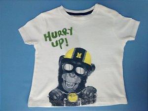 Camiseta Importada Zara Baby Boys Branca Hurry Up monkey
