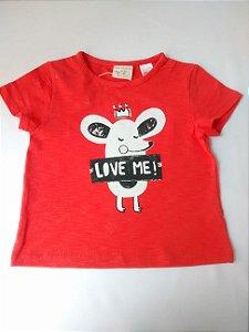 Blusa Bebê Zara Baby Girl Vermelha Love Me