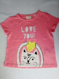 Blusa Feminina Bebê Importada Zara Baby Girl Rosa Love Cat