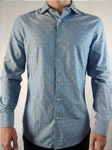 Camisa Masculina Manga Longa Importada Slim Fit Benetton Blue Flowers