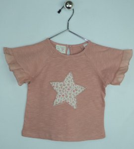 Blusa Infantil Rosa Estrela Florida Zara