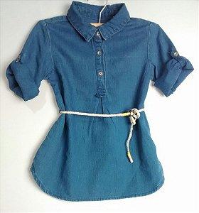 Vestido Infantil Jeans Cinto Cordão Zara
