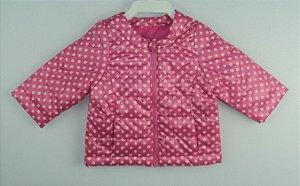 Jaqueta Bebê Rosa Pink Bolinhas Brancas Benetton