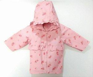 Jaqueta Infantil Bebê Rosas Impermeável Benetton
