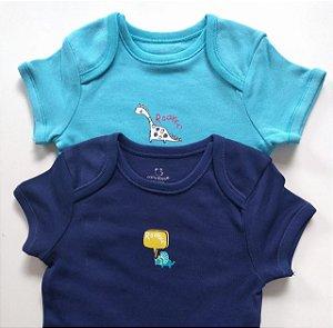 Kit Body Bebê Menino Manga Curta com 2 Peças Tom Azul