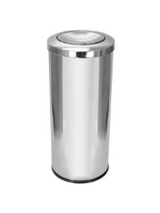 Cesto para lixo em aço inox com tampa meia esfera 50 Litros