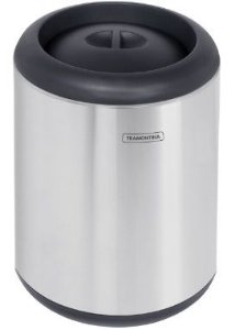 Lixeira em aço inox com aro e tampa em polipropileno 10 litros Tramontina - Cód. 94540/006