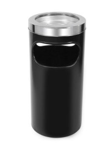 Cinzeiro lixeira em plástico com bandeja em alumínio e aro em aço inox