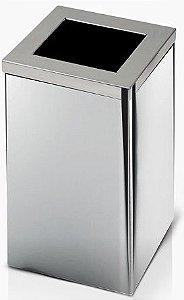 Lixeira de Inox quadrada com tampa Aro 36 litros - Cód. QI4