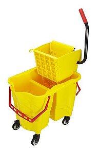 Carrinho funcional com Balde espremedor para água suja e água limpa
