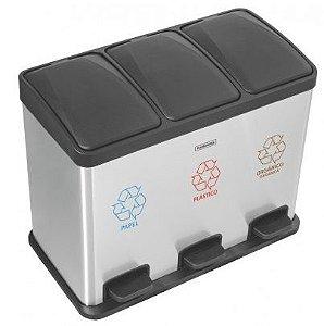 Lixeira com pedal retangular Tripla de 3 x 15 litros Tramontina 45 litros Total - Cod. 94538/245