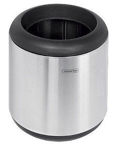 Lixeira em aço inox com aro e tampa em polipropileno 7 litros Tramontina - Cod. 94540/013