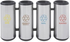 Conjunto de Lixeiras em aço inox sem tampa 31 litros cada Tramontina - Cod. 94540/023